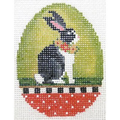 Chartreuse Mama Rabbit Easter Egg Needlepoint Canvas