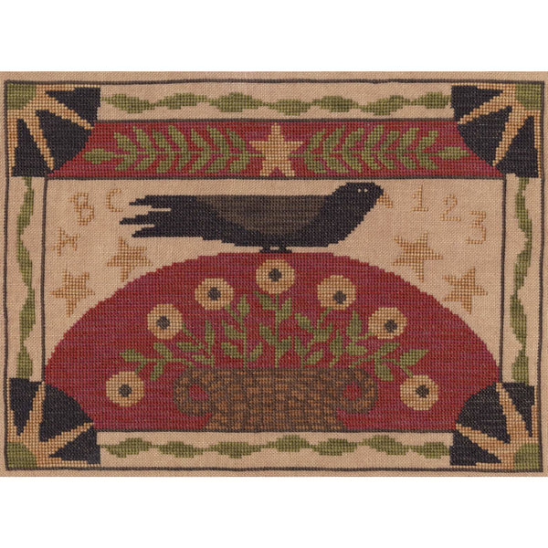 Crow & Basket Cross Stitch Pattern