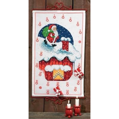 Elf on Roof Advent Calendar Cross Stitch Kit