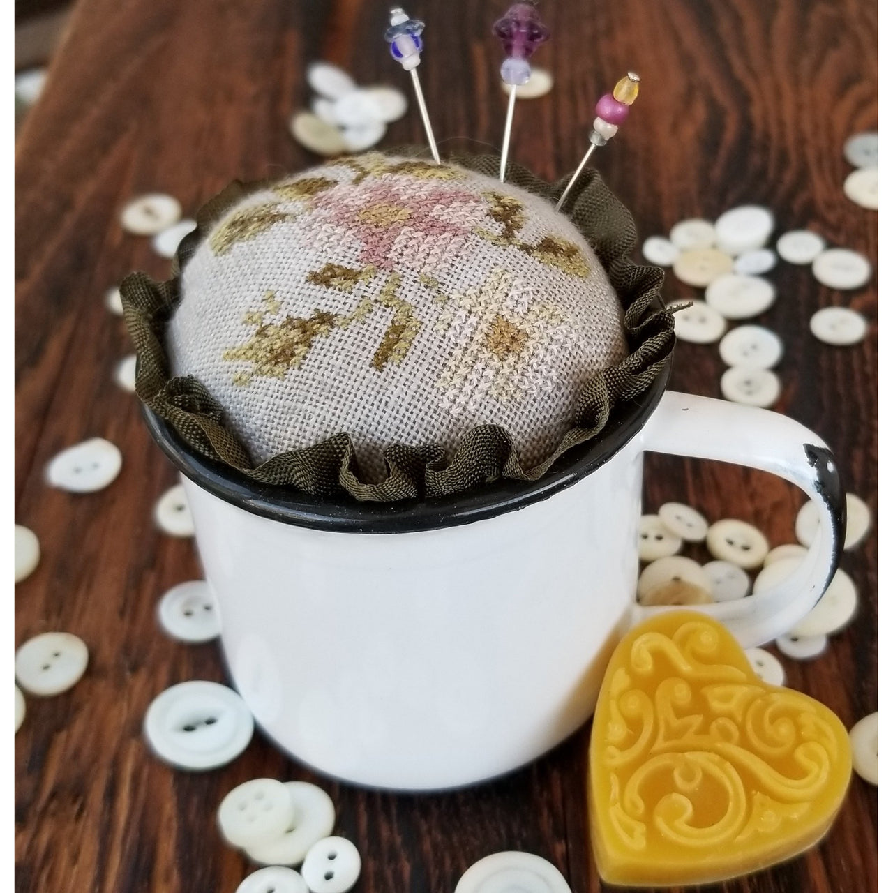 Floral Cup Pincushion Cross Stitch Pattern Kit