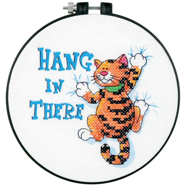Hang In There Stamped Cross Stitch Kit