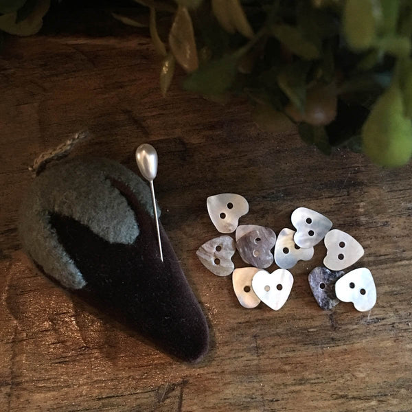 Mother of Pearl Mini-Heart Buttons