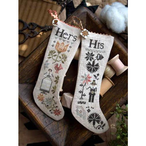 His & Hers Thanksgiving Stockings Cross Stitch Pattern