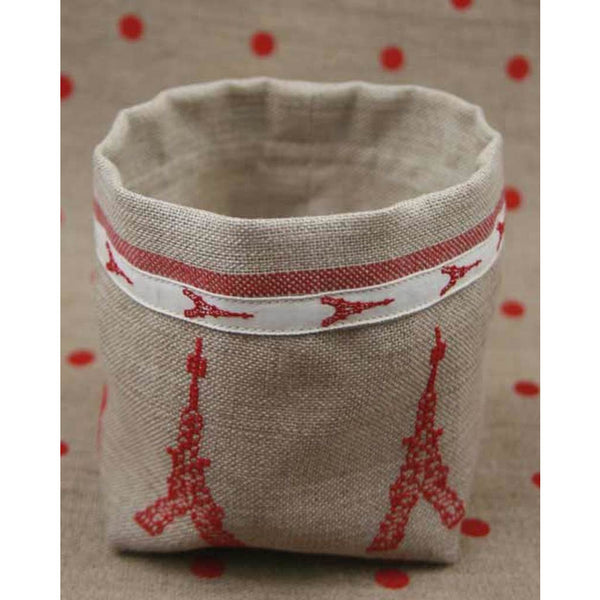 Sajou Linen Pot Cross Stitch Kit - Eiffel Tower Red