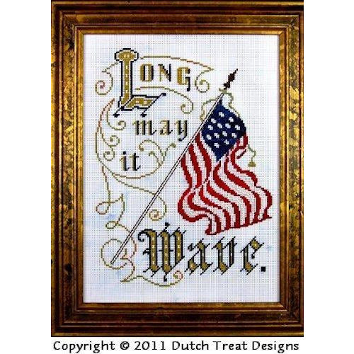 Long May It Wave Victorian Motto Pattern