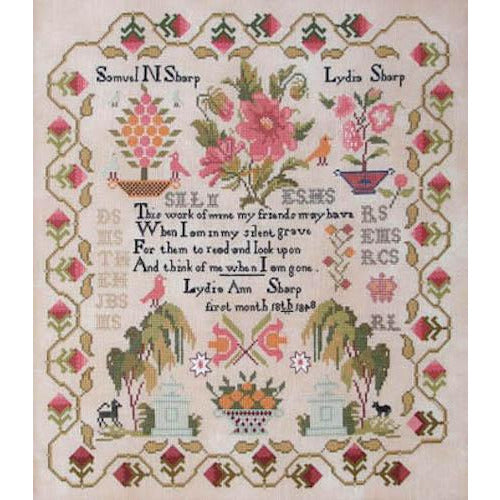 Lydia Sharp 1848 Sampler Cross Stitch Pattern
