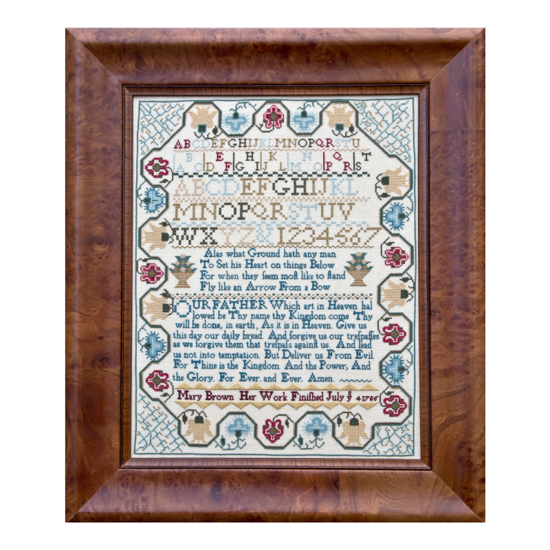 Mary Brown 1765 Reproduction Sampler Pattern