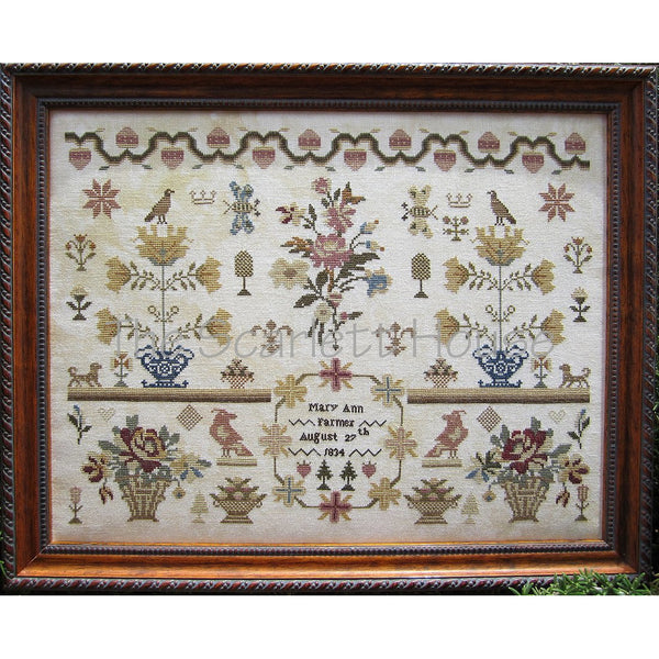 Mary Ann Farmer 1834 Reproduction Sampler Cross Stitch Pattern