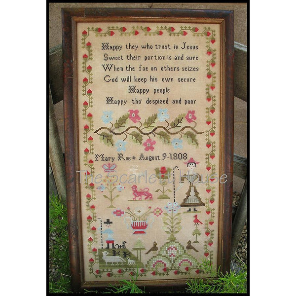 Mary Roe 1808 Reproduction Sampler Cross Stitch Pattern