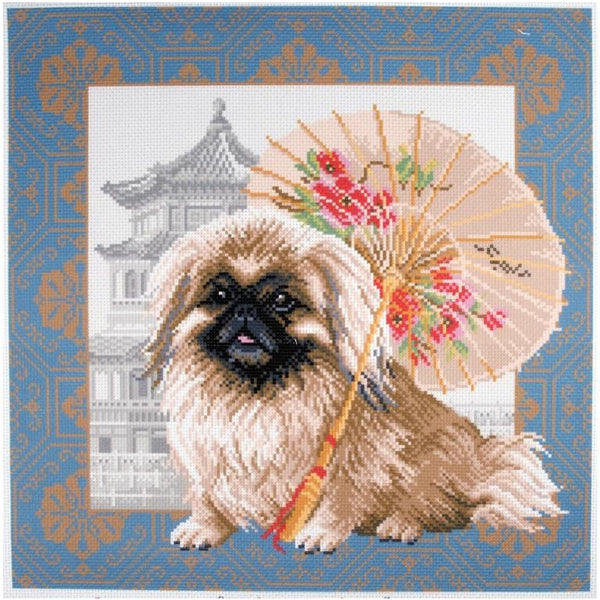 Pekingese in Beijing Printed Aida Cross Stitch