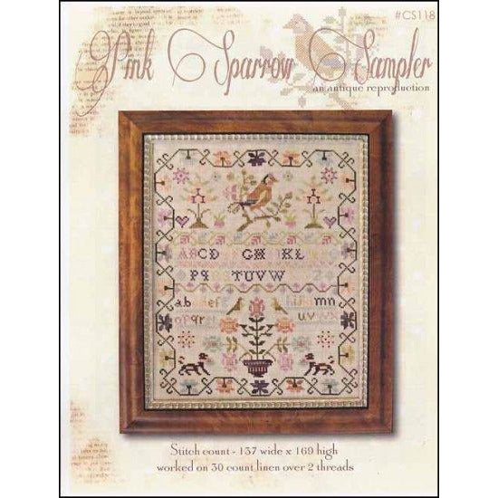 Pink Sparrow Reproduction Sampler Cross Stitch Pattern