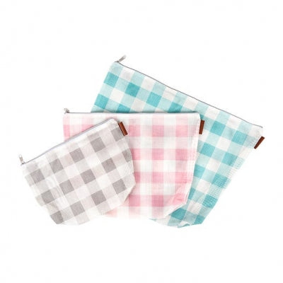 Set of Three Gingham Mesh Project Bags