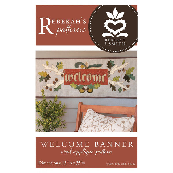 Welcome Banner Wool Applique Pattern