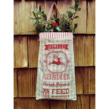 Reindeer Feed Sack Cross Stitch Pattern