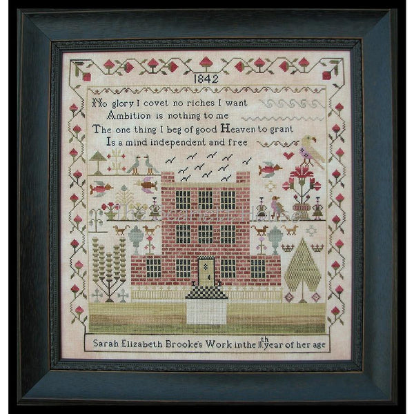 Sarah Elizabeth Brooke 1842 Reproduction Sampler Cross Stitch Pattern