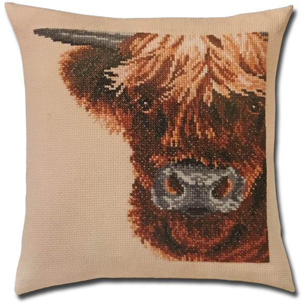 Scottish Cow Pillow Cross Stitch Kit