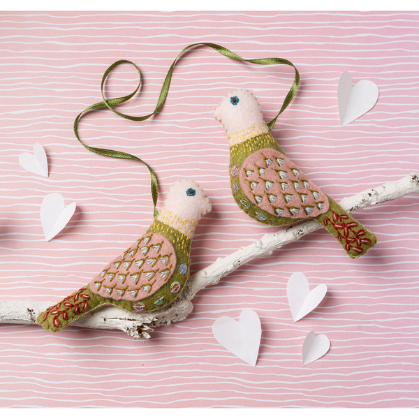 Love Birds Felt Embroidery Kit