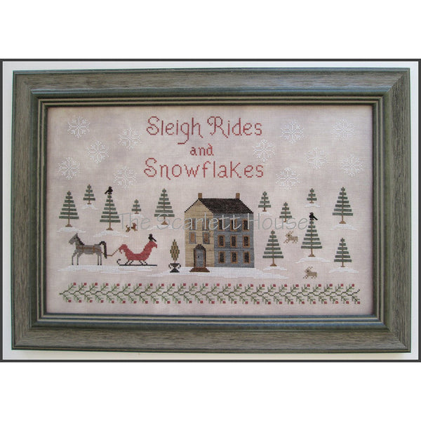 Sleigh Rides and Snowflakes Cross Stitch Pattern
