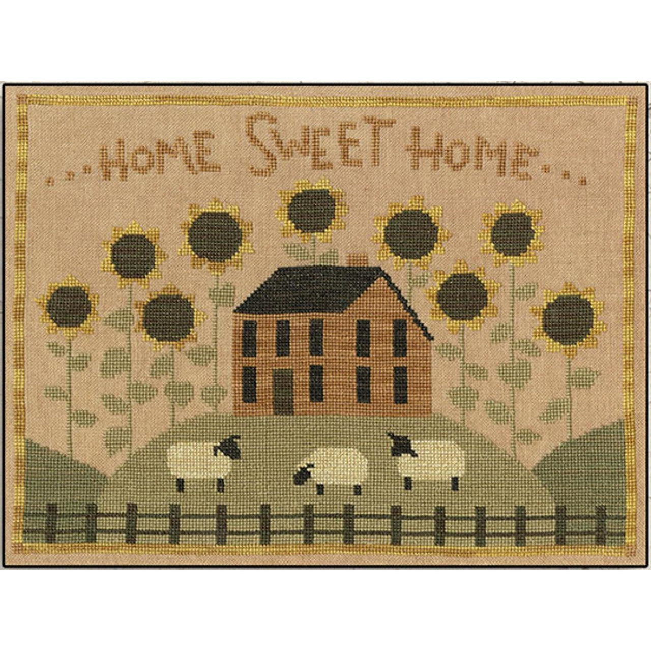 Sunflower House Cross Stitch Pattern