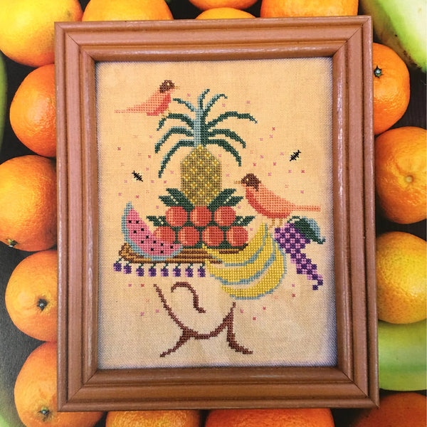 Tropical Hat Lady Cross Stitch Pattern