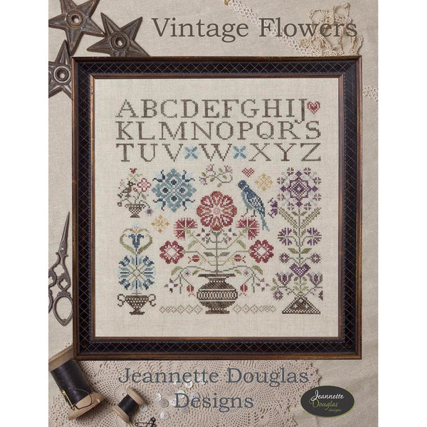 Vintage Flowers Sampler Cross Stitch Pattern