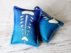blue fish bone cat toy