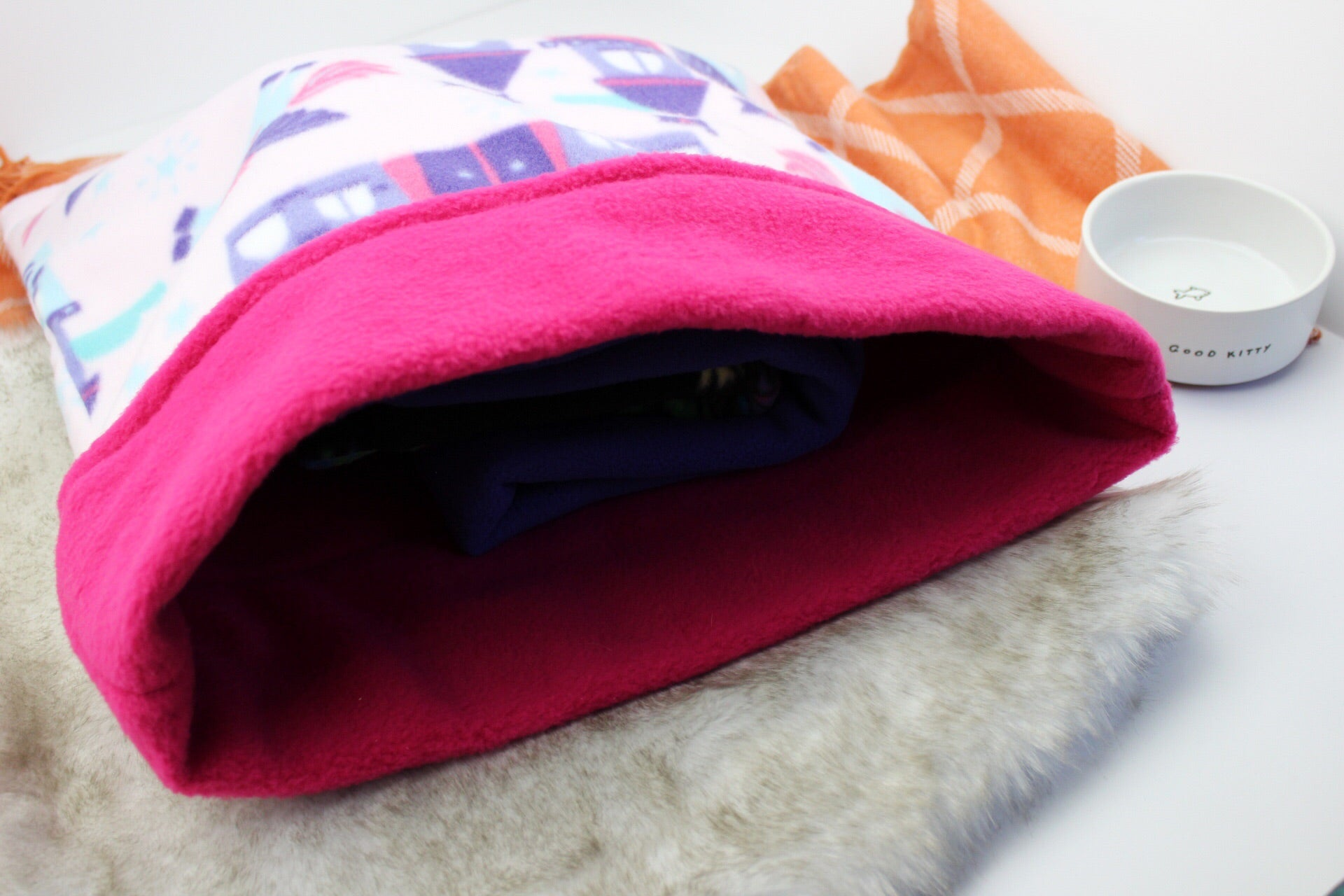 Pink Castle Cat Sleeping Bag