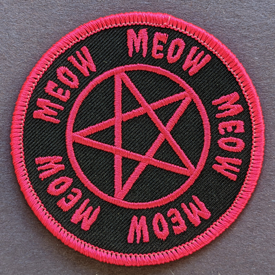 Meow Pentagram Neon Pink Patch