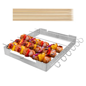 "Unicook Upgraded Stainless Steel Barbecue Skewer Shish Kabob Set, 6pcs 13.5""L Skewer Sticks with Foldable Large Grill Rack, Keeps Kabobs from Sticking to the Grill Grate, 50pcs Bamboo Skewers as Bonus"