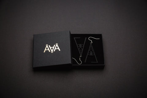 Aadra Collection Wooden Joy somber black earrings with branded packaging