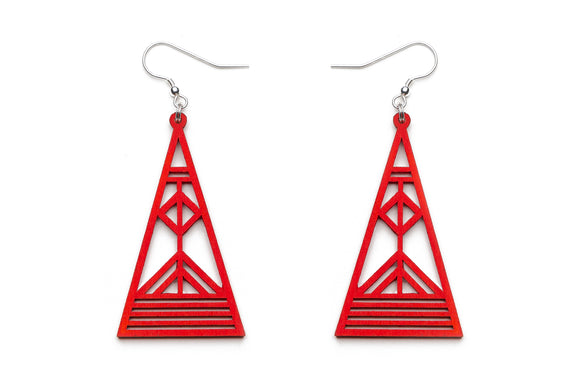 Aadra Collection red Arrow design earrings with white background