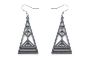 Aadra Collection grey Arrow design earrings with white background