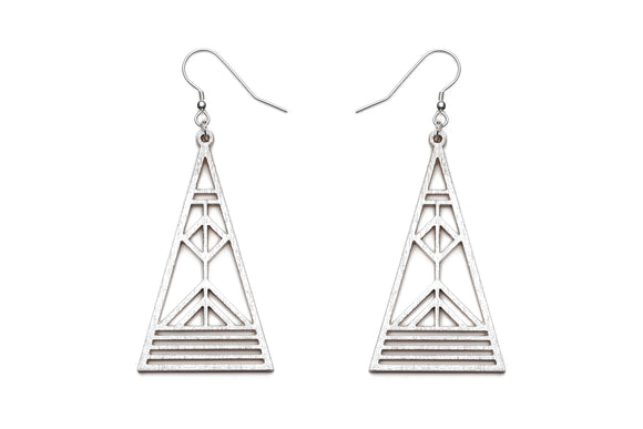 Aadra Collection Wooden Arrow pearl white earrings on a white background