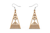 Aadra Collection Wooden Arrow gold painted earrings on a white background