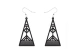 Aadra Collection Wooden Arrow somber black earrings on a white background