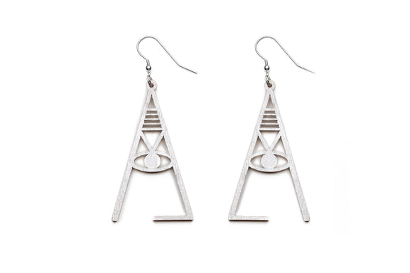 Aadra Collection Wooden Joy pearl white earrings on white background