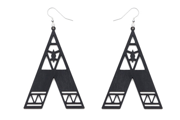 Aadra Collection Wooden Statement somber black earrings white background