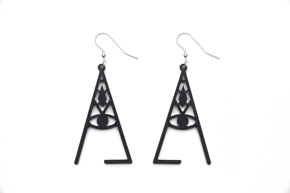 Aadra Collection wicked somber black earrings white background