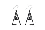 Aadra Collection Wooden Joy somber black earrings white background