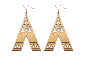 Aadra Collection Wooden Statement gold earrings white background