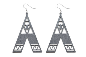 Aadra Collection Wooden Statement charcoal grey earrings white background