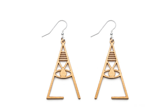 Aadra Collection Wooden Joy gold earrings on white background