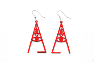Aadra Collection Wooden wicked flame orange earrings white background