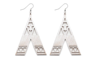 Aadra Collection Wooden Statement pearl white earrings white background