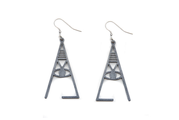 Aadra Collection Wooden Joy charcoal grey earrings white background
