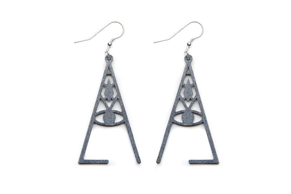 Aadra Collection Wooden wicked charcoal grey earrings white background