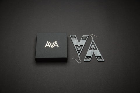 Aadra Collection Wooden Statement charcoal grey earrings with branded packaging