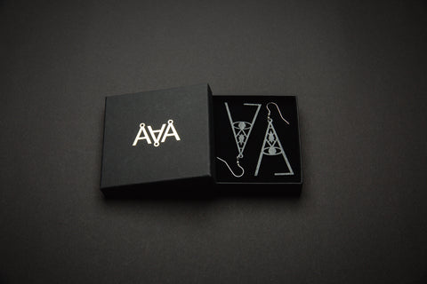 Aadra Collection Wooden wicked charcoal grey earrings with branded packaging