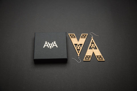 Aadra Collection Wooden Statement gold earrings with branded packaging