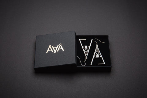 Aadra Collection Wooden Joy pearl white earrings with branded packaging